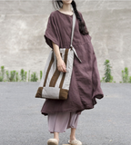 Patchwork Linen Loose Women Dress