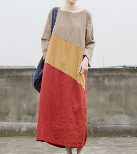 Color Block Long Sleeve Linen Loose Women Dress
