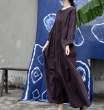 Pleated  Linen Long Loose O Neck Women Dresses