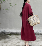 Long Sleeve Linen Loose Label Collar Women Dresses