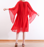 Red Long Chiffon Women Wide Sleeve Spring Dresses AMT962328