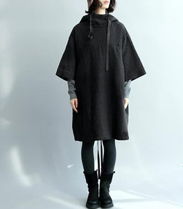 Black Loose Women Hooded Short Cotton Linen Sleeve Spring Dresses
