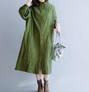 Wrinkled Green Loose Women Hooded  Linen Sleeve Spring Dresses