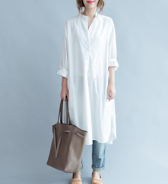 Loose Slit Buttons White Round Neck Shirts Spring Dresses