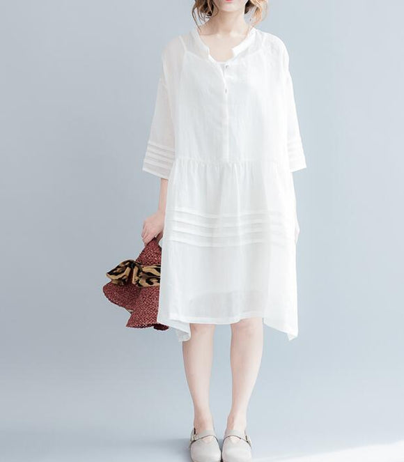 White Long Linen Batwing Women Spring Dresses Plus Size