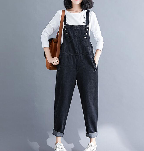 Black Denim Spring Overall Women Casual Jumpsuits PZ97251