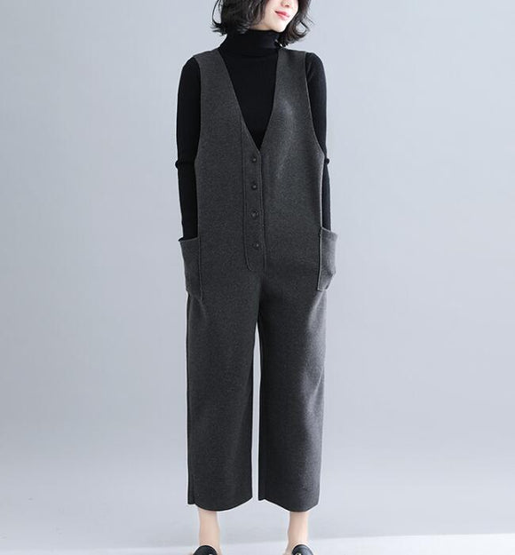 V Neck Casual Spring Black Wool Overall Women Jumpsuits PZ97251