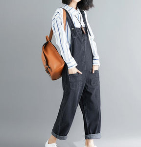Casual Spring Black Wool Overall Women Jumpsuits PZ97251