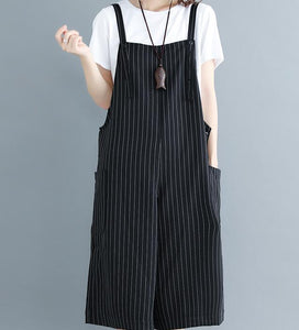 Striped Casual Spring Black Wool Overall Women Jumpsuits PZ97251