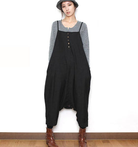 Two Ways Wears Casual Spring Black Wool Overall Women Jumpsuits PZ97251
