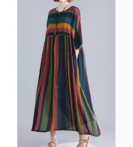 loose Striped Long Linen Batwing Women Spring Dresses Plus Size