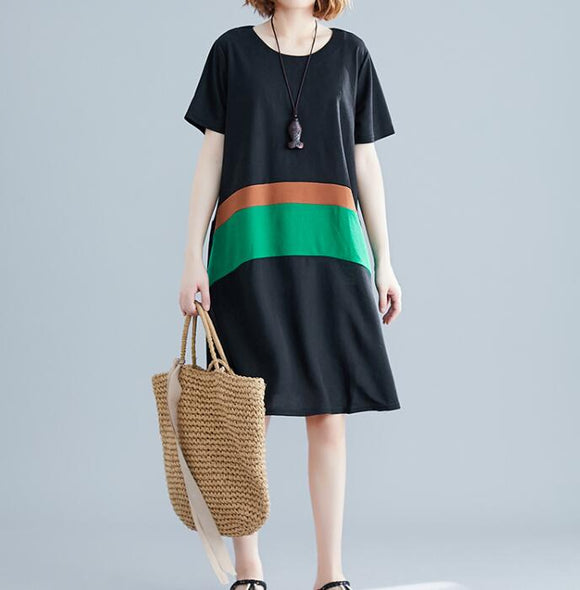 Color Block loose  Long Women Spring Dresses Plus Size