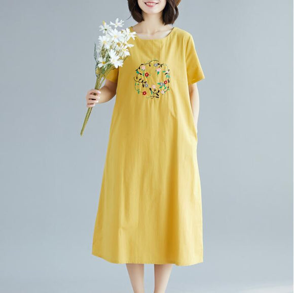 Embroidery loose Long Women Spring Dresses Plus Size