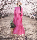 Pink Patchwork O Neck Summer Long Women Spring Dresses