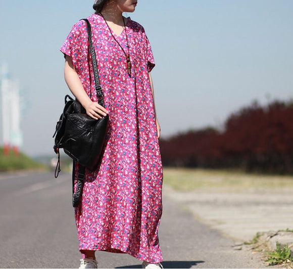Loose Long Summer Linen Cotton V Neck Spring Dresses