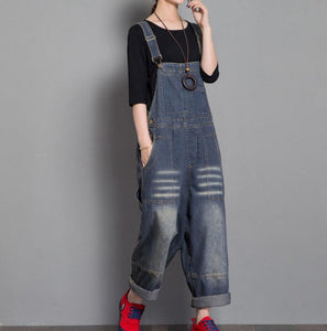 Handmade Denim Loose Casual Spring Denim Overall Women Jumpsuits