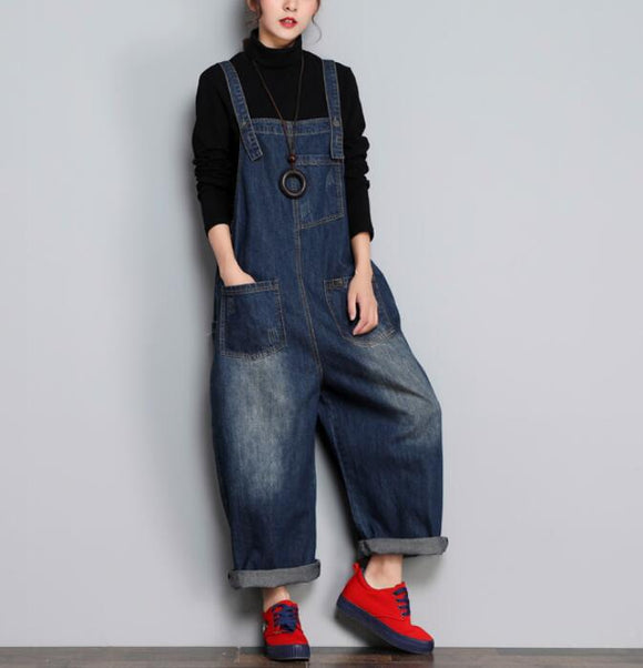 Loose Handmade Denim Casual Spring Denim Overall Women Jumpsuits
