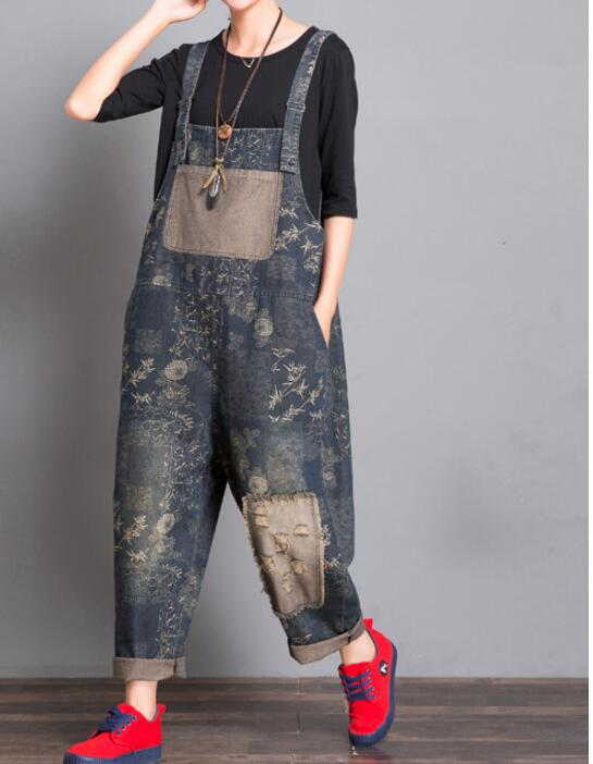 Gray Floral Loose Handmade Denim Casual Spring Denim Overall Women Jumpsuits