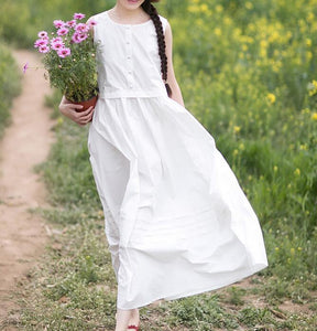 White Long Loose Summer Linen Ramie Spring Summer Dresses YJ0424