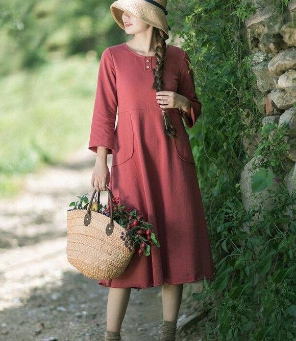 Spring Long SLeeves Summer Cotton Spring Women Dresses YJ05073