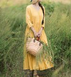 Yellow Short SLeeves Summer Ramie Spring Women Dresses YJ05073