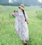 Loose Long SLeeves Spring Summer Ramie Women Dresses YJ05073