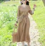 V Neck Women Dresses Casual Summer Linen Women Dresses SSM97215