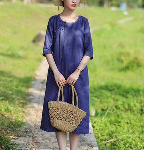 Navy Blue Women Dresses Casual Summer Linen Women Dresses Hand Made ButtonsSSM97215
