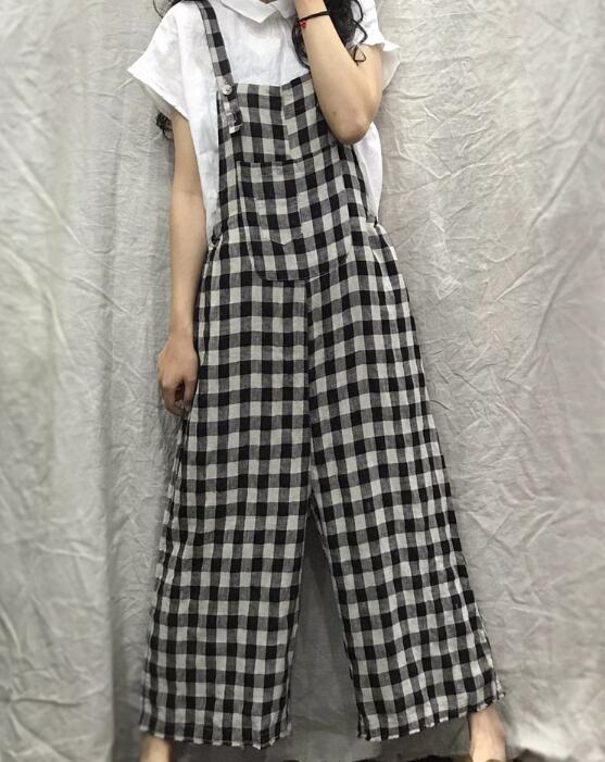 Checked Loose Casual Spring Summer Denim Overall Loose Women Jumpsuits QYCQ05165