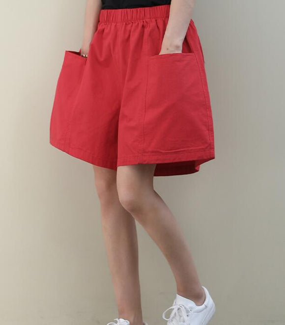 Red Cotton Linen Summer Women Shorts