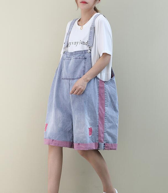 Denim Loose Casual Color Matching Summer Denim Overall Loose Women Jumpsuits QYCQ05165