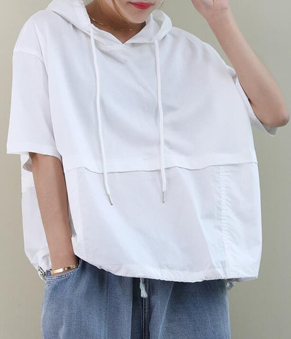 Hooded Loose Casual T-Shirts Summer Women Cotton Tops WG961707
