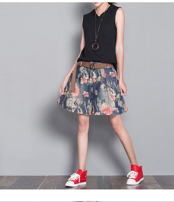 Floral Loose Denim Cotton Pants Summer Women Shorts
