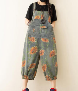 Floral Denim Loose Casual Summer Denim Overall Loose Women Jumpsuits QYCQ05165