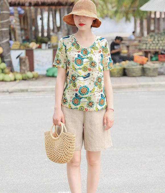 Floral  Linen Blouse Simple Style Shirts Summer Tops  SMM9508