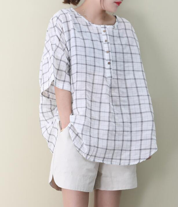 Checked Loose Casual T-Shirts Summer Women Cotton Tops WG961707