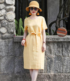 Yellow Women Dresses Ramie Casual Spring Linen Women Dresses SSM97215