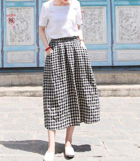 Plaid Women's Skirts Summer Linen Skirt Elastic Waist SSM09755