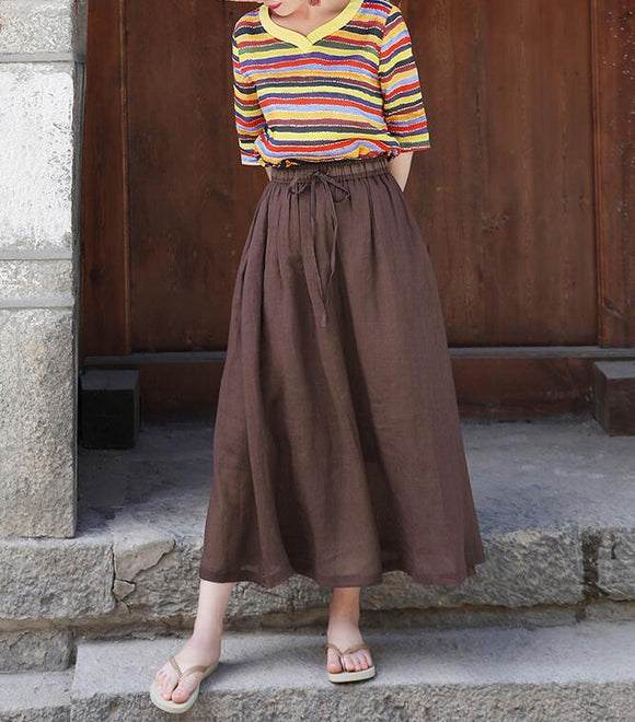 Coffee Women's Skirts Summer Linen Skirt Elastic Waist SSM09755