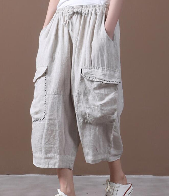 Linen Summer Loose Linen Wide Leg Women Casual Pants Elastic Waist WG05131
