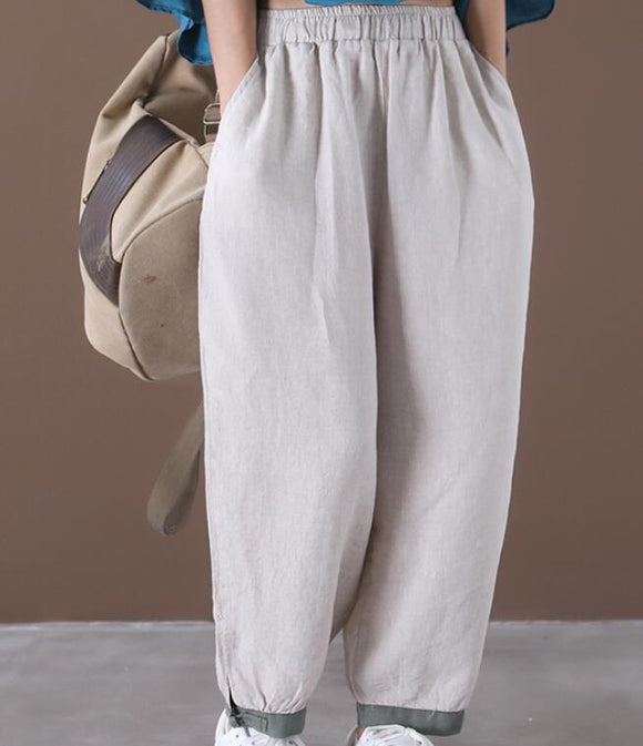 Loose Wide Leg Women Casual Pants Elastic Waist WG05131