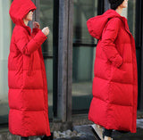 Red Long Women Duck Down Coats Jackets Winter Women Hooded Down Jacket Plus Size