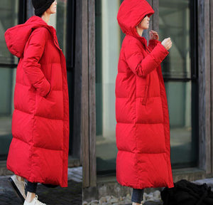 Long Winter Duck Down Jacket, Down Jacket Women Hooded Down Coat Plus Size