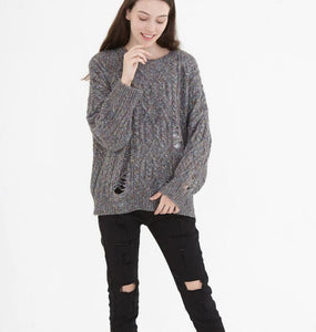 Holes Design O Neck Short loose Women Tops Woolen Knit Sweater