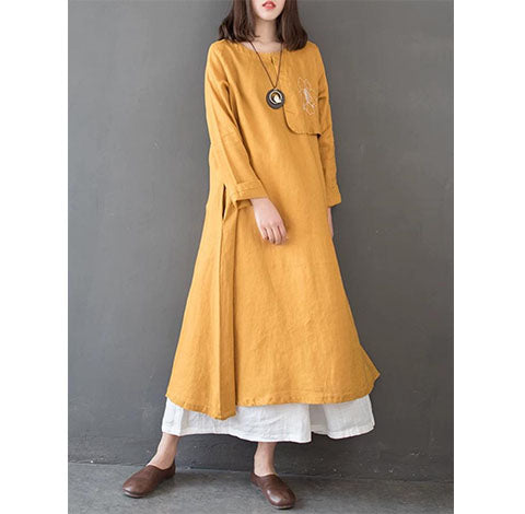 Spring-Linen-Cotton-Women-Dresses-long-sleeves