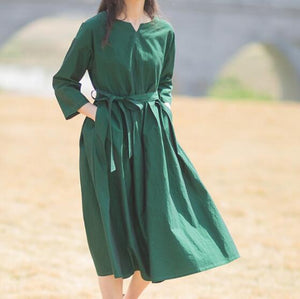Spring-summer-women-100% -linen-V-neck-dresses-wait-belt