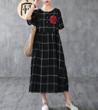 Plaid Long Sleeve Summer Spring Cotton Linen Women Dresses
