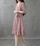 Long Sleeve Summer Spring Cotton Linen Women Dresses