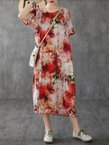 Floral Long Sleeve Summer Spring Cotton Linen Women Dresses