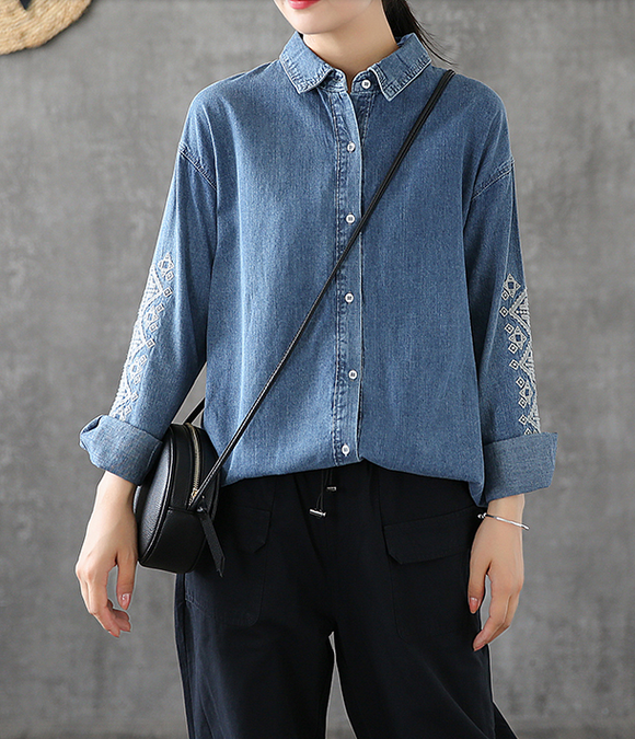 Denim Women Casual Blouse Cotton Linen Shirts Tops DZA200862